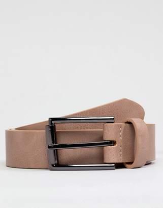 Asos DESIGN Wedding faux leather slim belt in pink