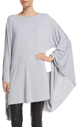 Made on Grand Fleur-de-lis Boat-Neck Batwing-Arms Jersey Caftan