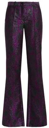 Roberto Cavalli Silk Satin-Trimmed Jacquard Bootcut Pants