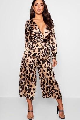 boohoo Plunge Twist Leopard Print Satin Jumpsuit
