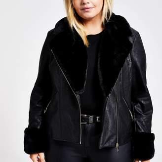 River Island Womens Plus Black faux fur quilted biker jacket