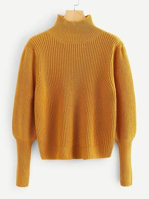 Shein Plus Gigot Sleeve Solid Jumper