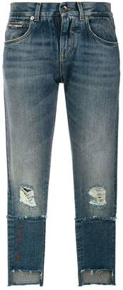 Dolce & Gabbana deconstructed logo patch jeans