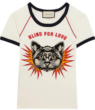Gucci Appliquéd Printed Cotton-jersey T-shirt - White