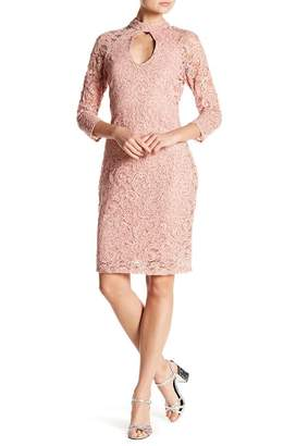 Marina Crochet Lace Embellished Keyhole Dress