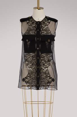 Givenchy Short-sleeved blouse with lace inserts