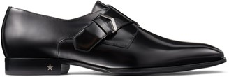 Jimmy Choo SALLE Black Brush Off Shiny Calf Leather Monk Strap Shoes