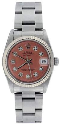 Rolex Datejust Oyster 78274 Midsize Stainless Steel Salmon Diamond Dial 31mm Watch