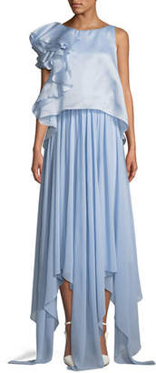 Badgley Mischka Sleeveless Popover Organza Pleated Gown