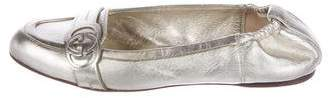 Gucci Metallic GG Round-Toe Flats