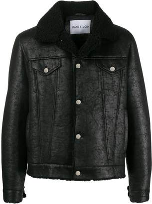 STAND STUDIO faux fur collar jacket