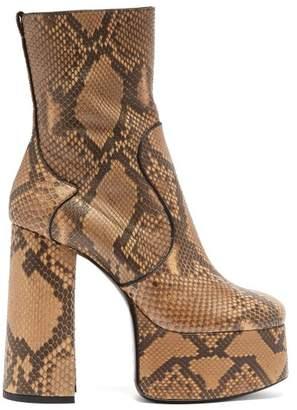 Saint Laurent Billy Python Leather Boots - Womens - Python