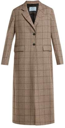 Prada Single Breasted Houndstooth Wool Blend Coat - Womens - Red Multi