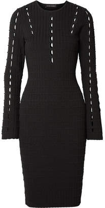 Narciso Rodriguez Cutout Ribbed Stretch-knit Dress - Black
