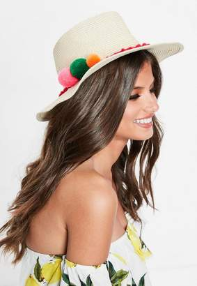 Missguided Tan Straw Fedora Pom Pom Hat