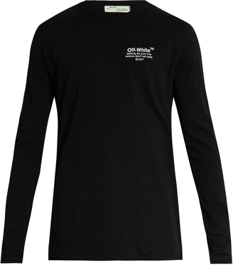 OFF-WHITE Embroidered long-sleeved cotton-jersey T-shirt $193 thestylecure.com