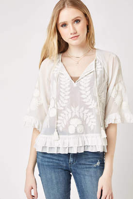 29a10553911c8 Gazelle By Beautiful Creature Ruffle Bottom Embroidered Blouse