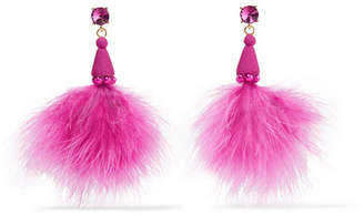 Oscar de la Renta Feather, Crystal And Bead Earrings - Bright pink