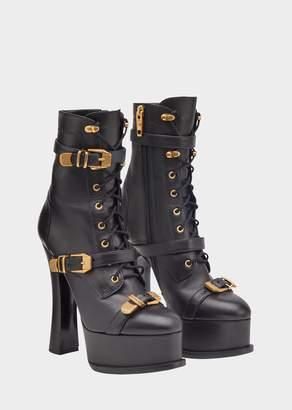 Versace Belted Strap Platform Boots
