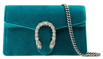 Gucci Super Mini Dionysus Velvet Shoulder Bag - Blue $790 thestylecure.com