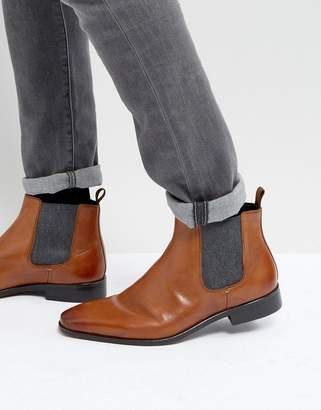 Dune Chelsea Boots In Tan Leather