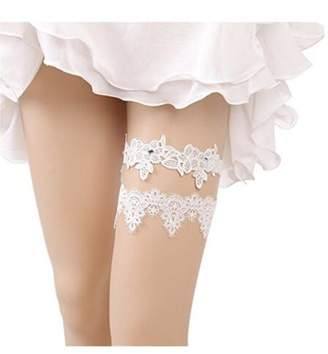 Bhwin Rhinestones Lace Bridal Garter Belt Set Vintage Beaded Wedding Garter