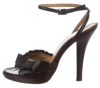 Saint Laurent Ankle Strap Bow Sandals