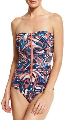 Stella McCartney Marble-Print Zip-Front Bandeau One-Piece Swimsuit, Multicolor