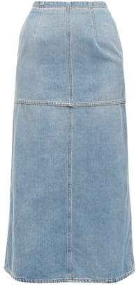 MM6 MAISON MARGIELA Back Slit Denim Midi Skirt - Womens - Light Denim