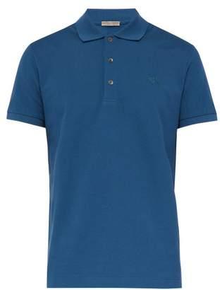 Bottega Veneta Logo Embroidered Polo Shirt - Mens - Blue