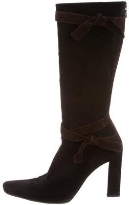 pradaPrada Suede Bow-Embellished Boots