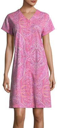 Miss Elaine COLLETTE BY Collette By Knit Short Sleeve V Neck Paisley Nightgown