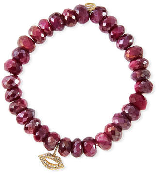 Sydney Evan 8mm Red Moonstone Beaded Bracelet with Diamond Lips Charm