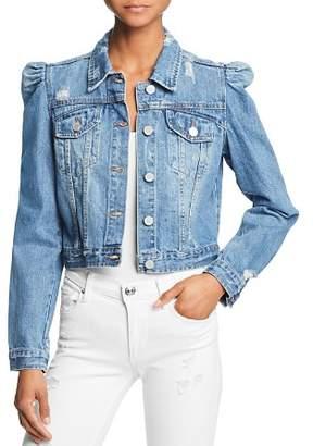 Blank NYC BLANKNYC Puff-Sleeve Cropped Denim Jacket