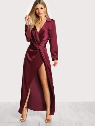 Shein Front Twist Split Satin Wrap Dress