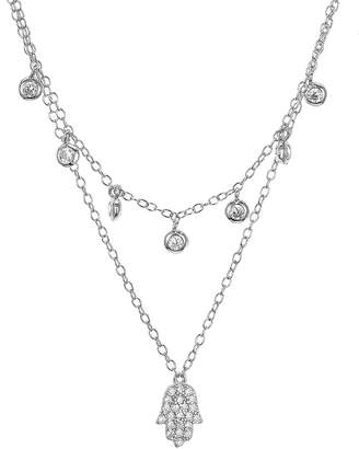 Aqua Sterling Silver Hamsa Layered Necklace, 16-17 - 100% Exclusive