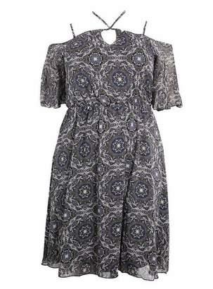 Evans Lovedrobe Black Halter Neck Paisley Print Skater Dress