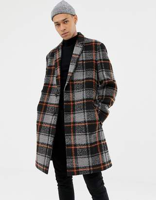 Asos Design DESIGN wool mix overcoat with orange check in black