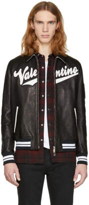 Valentino Black Leather Logo Patches Bomber Jacket