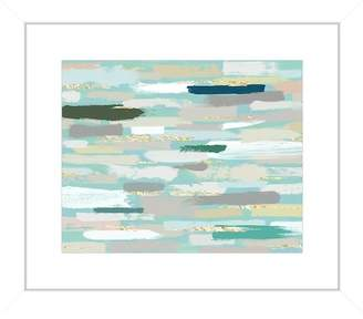 "PTM Images Abstract Teal & Beige Brushstroke Framed Giclee Print - 15""x13\"""