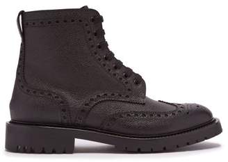 Burberry Barkestone Perforated Leather Ankle Boots - Mens - Black