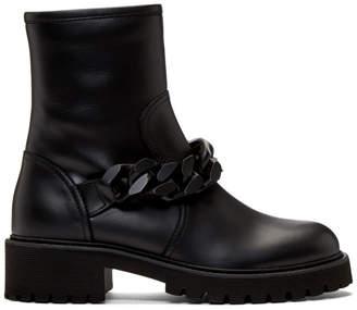 Giuseppe Zanotti Black Chain Strap Combat Boots