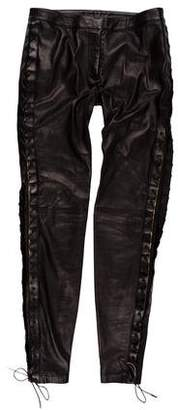 Alexander McQueen Lace-Up Leather Mid-Rise Pants