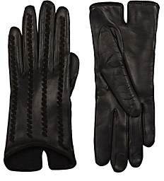 Barneys New York Women's Whipstitched Leather Gloves - Black