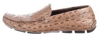 Prada Crocodile Driver Loafers