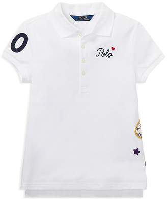 Polo Ralph Lauren Girls' Polo Shirt with Varsity Patches - Big Kid