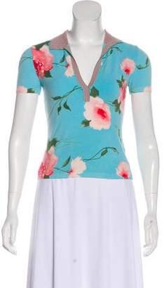 Blumarine Floral Knit Short Sleeve Top