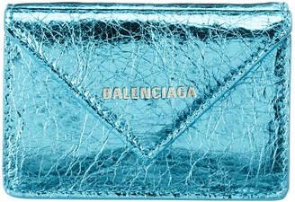 Balenciaga Papier Mini Metallic Leather Wallet