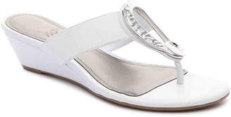 Women's Gailene Wedge Sandal -White Faux Leather $58 thestylecure.com