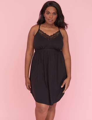 Lace-Trim Chemise with Logo Band